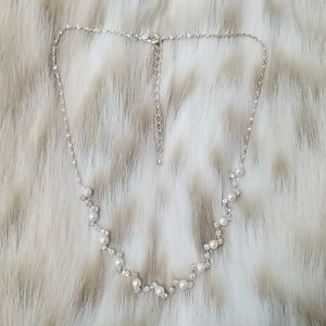 Dainty Rhinestone and Pearl Girls Necklace